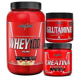 COMBO HIPERTROFIA - WHEY 100% + GLUTAMINA 300G + CREATINA 150G