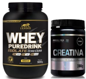 COMBO Whey Pure Drink Isolate  900g  ( Leader  ) + Creatina 300g (Probiotica)