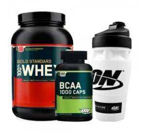 COMBO WHEY GOLD 909g + BCAA 1000 (200 caps) + SHAKER - OPTIMUM NUTRITION