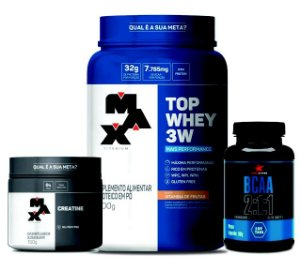 COMBO MASSA MUSCULAR - TOP WHEY 3W + CREATINA 150g + BCAA 2:1:1 120 CÁPSULAS