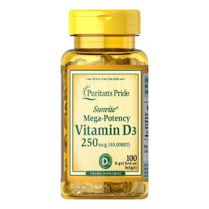 Vitamina D3 10.000iu 250mcg Puritans Pride - 100 Cápsulas