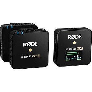 Rode Wireless GO II Sistema / Gravador de microfone sem fio digital compacto para 2 pessoas (2,4 GHz, preto)