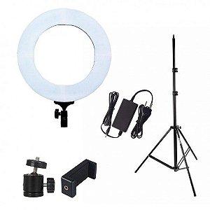"""Kit iluminador Led Ring 19"""" com Tripé de Iluminação e Mini Cabeça Adaptadora RL19"""