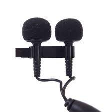 Microfone de Lapela Profissional Duplo com fio YOGA EM-6 - CSR