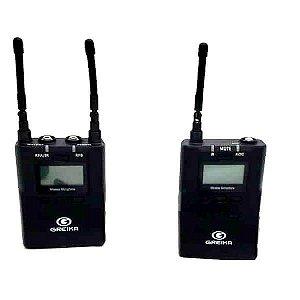 Microfone Lapela sem fio Greika GK-UMIC 8 para Câmeras, Computador