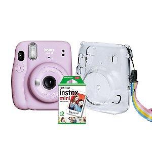 Kit Câmera  Fujifilm Instax Mini 11 Lilás + Pack 10 fotos + Bolsa Crystal