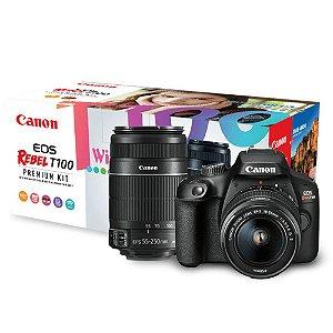 Câmera EOS T100 Kit  com Lente EF-S 18-55mm + EF 55-250MM STM