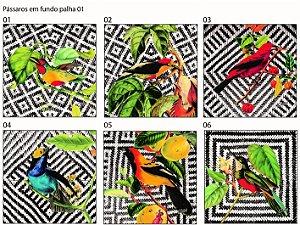 Almofada Pássaros em fundo palha ( UNIDADE )