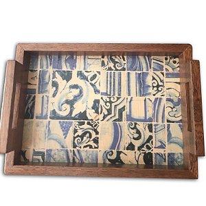 Bandeja de Madeira Azulejos Portugueses (31 x 23cm)