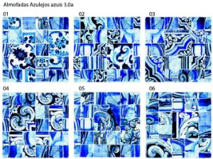 Almofada Azulejos azuis em tom claro (UNIDADE)