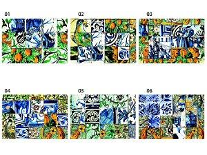 Jogo Americano Retangular - Azulejos Coloridos - (UNIDADE)