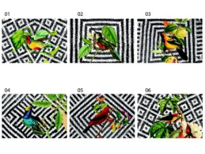 Jogo Americano Retangular - Pássaros em fundo palha (Conjunto de 6 unidades)