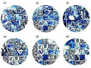 Jogo Americano Redondo - Azulejos Azuis (UNIDADE)