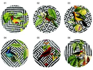 Jogo Americano Redondo - Pássaros em fundo palha (Conjunto de 6 unidades)
