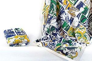 Manta em Tricot Azulejo colorido