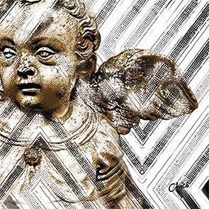 Almofada Anjo barroco em fundo com motivo indígena (UNIDADE)