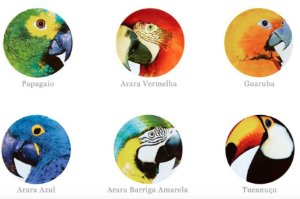 Sousplat, Pássaros Brasileiros - Vista Alegre por Chicô Gouvêa