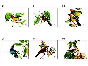 Jogo Americano Retangular - Pássaros em fundo branco (UNIDADE)