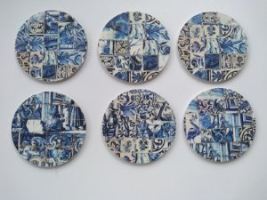 Porta Copos azulejo azul (6 unidades)