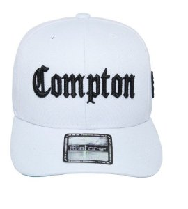 Boné Compton Aba Curva Branco E-Stars NWA Straight Outta Compton Snapback Edição Especial