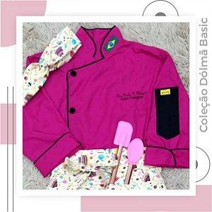 Dólmã Basic Pink com viés preto