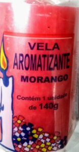 Vela aromática Morango 140g colorida - aromatizante e decorativa