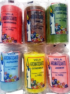 KIT Combo SEIS Velas aromáticas 140g colorida - aromatizantes e decorativas