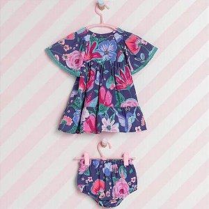 Vestido c/ Calcinha Flores Baby Monsucré