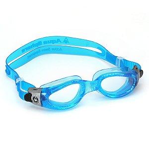 Óculos de Natação Aqua Sphere Kaiman Small Azul e Presilha Prata Lente Transparente