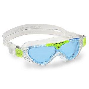 Máscara de Natação Aqua Sphere Vista JR Transparente e Verde Lente Azul