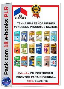 Pack com 18 e-books PLR em Português