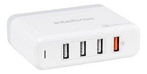 Carregador USB Quick Desktop 4 Portas EC4 - 5V 3A Intelbras