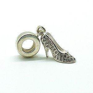 Berloque Prata Sapato de Cristal