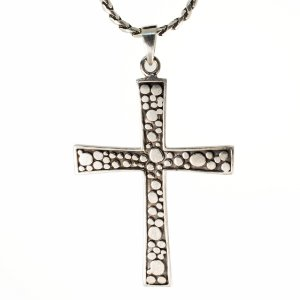 Pingente prata envelhecida cruz