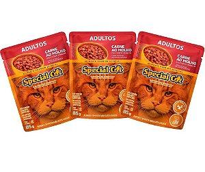 Ração Úmida Special Cat Sache para Gatos  Adultos Carne Combo Com 12 Unidades