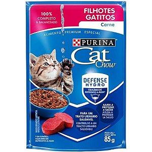 Sache Cat Chow Purina Filhotes Carne 85g