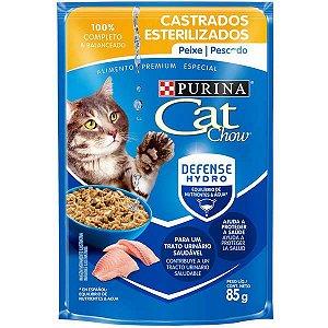 Ração Úmida Sache Cat Chow para Gatos Castrados sabor Peixe 85g
