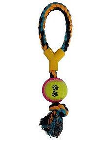 Brinquedo Chalesco Forca com Bola de Tênis Para Cães