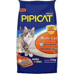 Areia para Gato Pipicat Multicat Kelco 12kg