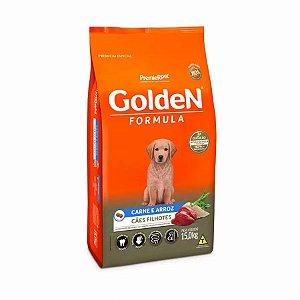 Ração Golden  Caes Filhotes  Sabor Carne e Arroz 15,kg
