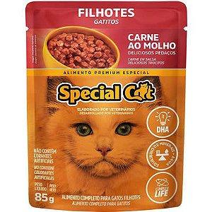 Ração Úmida Special Cat Sache Carne para Gatos Filhotes 85g