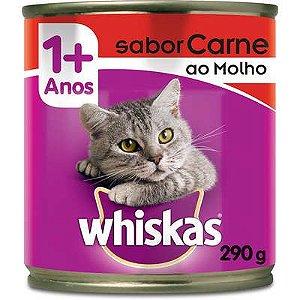 Ração Úmida Whiskas Lata Carne ao Molho para Gatos Adultos - 290 g