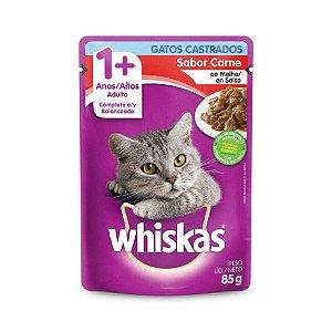 Ração Úmida Whiskas Sache Carne ao Molho para Gatos Adultos Castrados