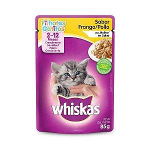 Ração Úmida Whiskas Sache para Gatos Filhotes Sabor Frango ao Molho