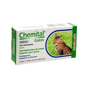 Vermífugo Chemital para Gatos 4 Comprimidos