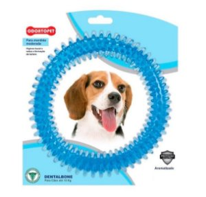Brinquedo Mordedor Dental Argola Azul Para  Cães De Até 15Kg
