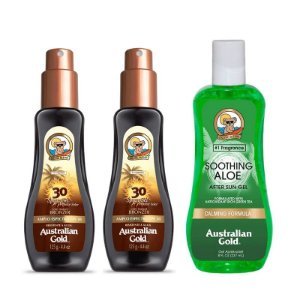 KIT 2 PROTETORES SOLAR SPRAY AUSTRALIAN GOLD FPS30 125ml + PÓS SOL ALOE VERA AUSTRALIAN GOLD