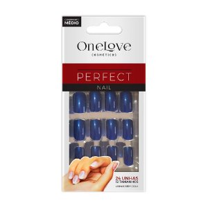 UNHA POSTIÇA SEM COLA ONE LOVE PERFECT NAIL BLUE SC - 5091