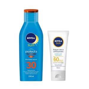 KIT PROTETOR SOLAR NIVEA CORPORAL FPS30 + FACIAL TOQUE SECO ANTISSINAIS FPS60