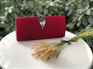 Bolsa Clutch Vermelha Fecho Folha